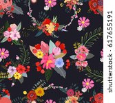 floral background pattern ... | Shutterstock .eps vector #617655191