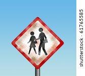 abandon school zone road sign | Shutterstock . vector #61765585