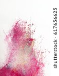 Small photo of Abstract painting, graffiti of magenta color on white background. Creative blurred street art, modern abstractionism.