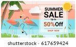 summer sale background with two ... | Shutterstock .eps vector #617659424