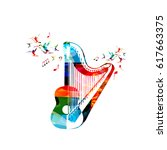 colorful guitar with harp and... | Shutterstock .eps vector #617663375