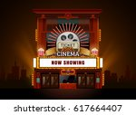 theater cinema building vector... | Shutterstock .eps vector #617664407