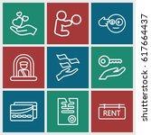 holding icons set. set of 9... | Shutterstock .eps vector #617664437