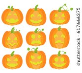 jack o lanterns collection | Shutterstock .eps vector #617666375