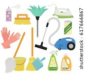 cleaning tools   spring cleaning | Shutterstock .eps vector #617666867
