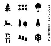 forest icons set. set of 9... | Shutterstock .eps vector #617667311