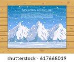 mountaineering  trekking ... | Shutterstock .eps vector #617668019