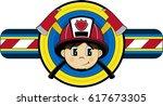 cute cartoon fireman | Shutterstock .eps vector #617673305