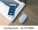 transaction completed message... | Shutterstock . vector #617673884