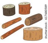 vector set of wooden timber | Shutterstock .eps vector #617680589