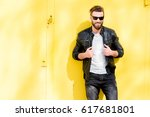 colorful portrait of a handsome ... | Shutterstock . vector #617681801