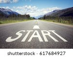 start line on the highway... | Shutterstock . vector #617684927