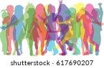vector silhouette of children... | Shutterstock .eps vector #617690207