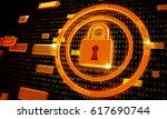 safety concept  closed padlock... | Shutterstock . vector #617690744