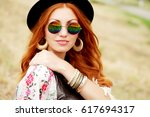 pretty amazing free red haired... | Shutterstock . vector #617694317