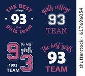 the best girls team college... | Shutterstock .eps vector #617696054
