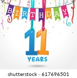 11 years birthday celebration... | Shutterstock . vector #617696501
