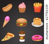 fast food icon set  detailed... | Shutterstock . vector #617701139