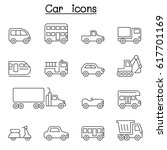 car   vehicle icon set in thin... | Shutterstock .eps vector #617701169