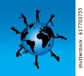 vector silhouette of children... | Shutterstock .eps vector #617703755