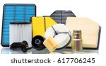 composition of air filters for... | Shutterstock . vector #617706245