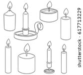 vector set of candle | Shutterstock .eps vector #617713229
