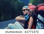 two young people tourists... | Shutterstock . vector #61771372