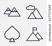 set of 4 peak outline icons... | Shutterstock .eps vector #617717645