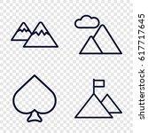 set of 4 peak outline icons... | Shutterstock .eps vector #617717645