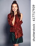 beautiful caucasian smiling... | Shutterstock . vector #617717939