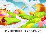 sweet candy land. 3d vector... | Shutterstock .eps vector #617724797