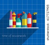 household chemicals vector... | Shutterstock .eps vector #617727905