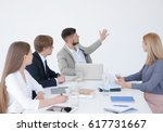 business trainer giving... | Shutterstock . vector #617731667