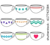 cups outline collection | Shutterstock .eps vector #617742584