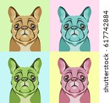 portraits of a french bulldog... | Shutterstock .eps vector #617742884