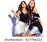 fashion portrait of two smiling ... | Shutterstock . vector #617746121