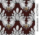 white mehndi seamless pattern.... | Shutterstock . vector #617747861