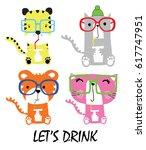 Stock vector cute animal cartoon artwork vector 617747951