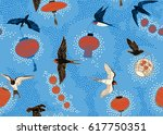 pattern with birds and lanterns | Shutterstock .eps vector #617750351