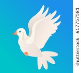vector beautiful white dove on... | Shutterstock .eps vector #617757581