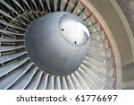 turbine blades of an aircraft jet engine. - stock photo