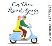 man and woman riding on the... | Shutterstock .eps vector #617775317