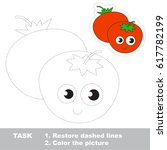 two funny red tomatoes. dot to... | Shutterstock .eps vector #617782199
