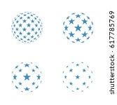3d sphere of geometric stars...   Shutterstock .eps vector #617785769