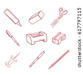 hand drawn office equipment... | Shutterstock . vector #617797115