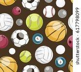 sport balls set pattern. | Shutterstock . vector #617798099