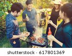 dinner party  barbecue and... | Shutterstock . vector #617801369