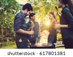 dinner party  barbecue and... | Shutterstock . vector #617801381