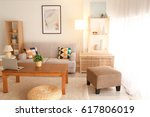 modern interior of living room | Shutterstock . vector #617806019
