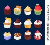 set of colorful cupcakes for... | Shutterstock .eps vector #617816141